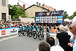 Vital Concept Cycling Club power off the start ramp during Stage 3 of the 2018 Criterium du Dauphine 2018 a Team Time Trial running 35km from Pont de Vaux to Louhans Chateaurenaud, France. 6th June 2018.<br /> Picture: ASO/Alex Broadway | Cyclefile<br /> <br /> <br /> All photos usage must carry mandatory copyright credit (&copy; Cyclefile | ASO/Alex Broadway)