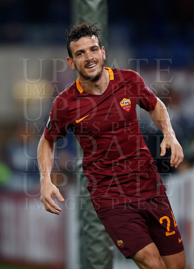Calcio, Europa League, Gguppo E: Roma vs Austria Vienna. Roma, stadio Olimpico, 20 ottobre 2016.<br /> Roma's Alessandro Florenzi celebrates after scoring during the Europa League Group E soccer match between Roma and Austria Wien, at Rome's Olympic stadium, 20 October 2016. The game ended 3-3.<br /> UPDATE IMAGES PRESS/Isabella Bonotto