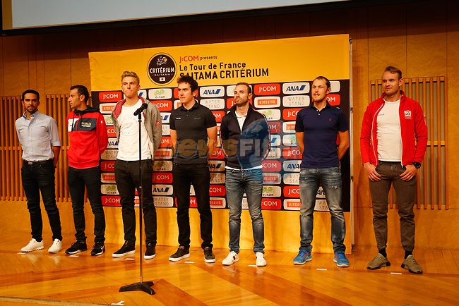 Alberto Contador (ESP), Vincenzo Nibali (ITA), Marcel Kittel (GER), Geraint Thomas (WAL), Alejandro Valverde (ESP), Matteo Trentin (ITA) and Alexander Kristoff (NOR) at the Opening Ceremony before the 2018 Saitama Criterium, Japan. 3rd November 2018.<br /> Picture: ASO/Yuzuru Sunada | Cyclefile<br /> <br /> <br /> All photos usage must carry mandatory copyright credit (&copy; Cyclefile | ASO/Yuzuru Sunada)