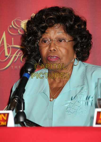 "Katherine Jackson.""Michael Forever The Tribute Concert"" Press Conference held at The Beverly Hills Hotel, Beverly Hills, California, USA..July 25th, 2011.headshot portrait blue green  microphone .CAP/ADM/BP.©Byron Purvis/AdMedia/Capital Pictures."