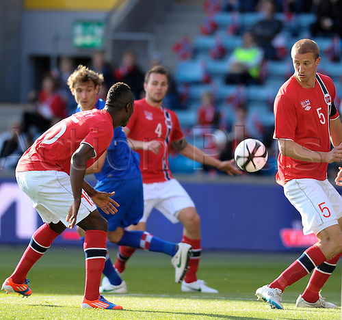 02.06.2012 Oslo, Norway Alexander Tettey and  Brede Hangeland of Norway (R)in action during the  international friendly match  between Norway vs Croatia at the Ullevaal Stadion in Oslo, Norway ..