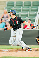 Wynston Sawyer #12 of the Delmarva Shorebirds follows through on his swing against the Kannapolis Intimidators at CMC-Northeast Stadium on June 21, 2012 in Kannapolis, North Carolina.  The Intimidators defeated the Shorebirds 6-5 in 11 innings.  (Brian Westerholt/Four Seam Images)