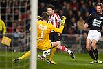 Nederland, Eindhoven,16 maart  2013.Eredivisie .Seizoen 2012-2013.PSV-RKC Waalwijk.Mark van Bommel van PSV schiet de bal tegen Jeroen Zoet, keeper (doelman) van RKC aan.