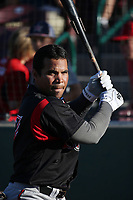 Yuniet Flores (17) of the Lake Elsinore Storm practices his swing before a game against the Inland Empire 66ers at San Manuel Stadium on April 29, 2017 in San Bernardino, California. Inland Empire defeated Lake Elsinore, 3-1. (Larry Goren/Four Seam Images)