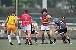 Hogan Lovells Asia Pacific Dragons vs Kir Club Pyrenees during their Cup Quarter-final as part of the GFI HKFC Rugby Tens 2017 on 06 April 2017 in Hong Kong Football Club, Hong Kong, China. Photo by Juan Manuel Serrano / Power Sport Images