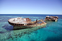 Shipwreck on Heron Isle. Barrier Reef Australi