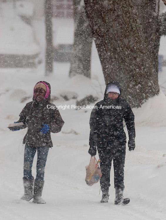WATERBURY, CT-13 February 2014-0201314BF05- Friends Ziona Thomas, 11, left, and Erykah Batista,15, makes there way through Fulton Park in Waterbury after going to a store for food items Thursday during the snow storm. The two girls said they just wanted to get out and get some lunch.   Bob Falcetti Republican-American<br /> <br /> (cq Ziona and cq Erykah)