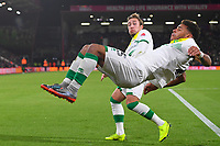 Felix Passlack of Norwich City just manages to avoid Onel Hernandez of Norwich City as he does a somersault after scoringduring AFC Bournemouth vs Norwich City, Caraboa Cup Football at the Vitality Stadium on 30th October 2018