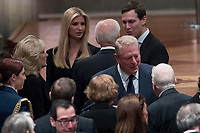 Former Vice President Joe Biden, fourth from left, and his wife Jill Biden, second from left, speak with Ivanka Trump, the daughter of President Donald Trump, third from left, and her husband, President Donald Trump's White House Senior Adviser Jared Kushner, third from right, as former Vice President Al Gore, second from right, speak to former President Jimmy Carter, right, and former first lady Rosalynn Carter, bottom center, before a State Funeral for former President George H.W. Bush at the National Cathedral, Wednesday, Dec. 5, 2018,  in Washington. <br /> CAP/MPI/RS<br /> &copy;RS/MPI/Capital Pictures