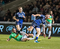 3rd January 2020; AJ Bell Stadium, Salford, Lancashire, England; English Premiership Rugby, Sale Sharks versus Harlequins;  Byron McGuigan  of Sale Sharks beats  Ross Chisholm  of Harlequins to set up Sales second try - Editorial Use
