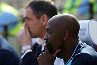 Swansea City assistant manager Claude Makélélé with Swansea City manager Paul Clement during the Premier League match between West Ham United and Swansea City at the London Stadium, England, UK. 08 April 2017