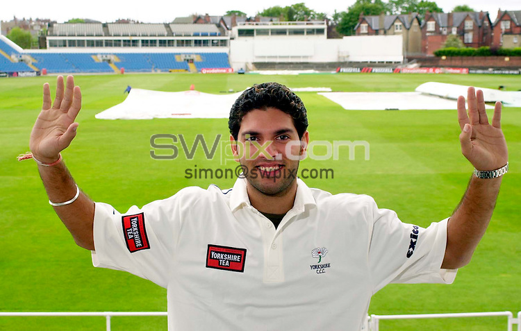 Pix: Ben Duffy/SWpix.com.Yorkshire County Cricket club new Signing - Raj Yuvraj.....20/05/03...Yorkshire unviel their new Indian international batsman,  Yuvraj Singh at Headingley today..COPYRIGHT PICTURE>>SIMON WILKINSON>>01943 436649>>