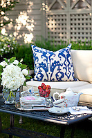 A tea set and side plates are set out on a low table ready for afternoon tea in the garden.