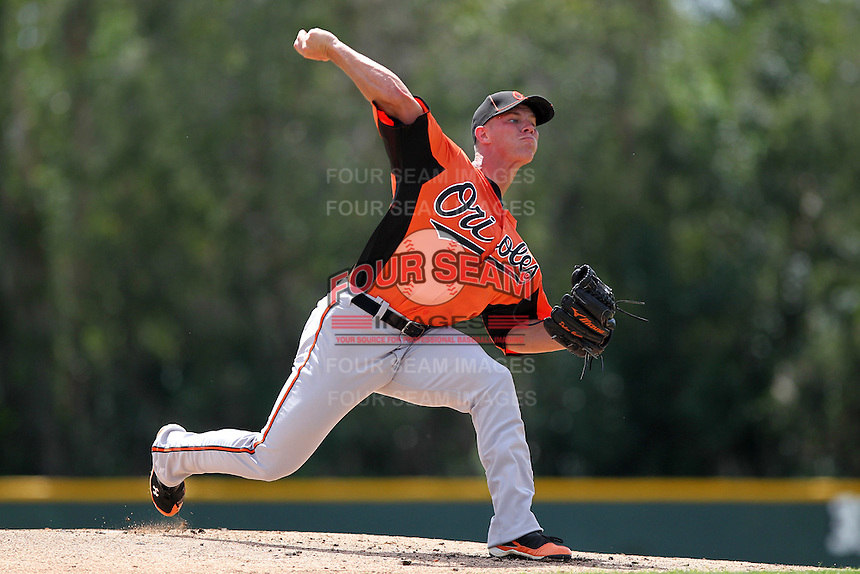 Baltimore Orioles pitcher Dylan Bundy #82 delivers a pitch during a minor league spring training game against the Tampa Bay Rays at the Buck O'Neil Complex on March 21, 2012 in Sarasota, Florida.  Bundy, the fourth overall draft pick of the 2011 MLB Draft, went two innings on the mound.  (Mike Janes/Four Seam Images)