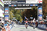 Laura Stigger (AUT) wins the Women Junior Road Race of the 2018 UCI Road World Championships running 71.7km from Wattens to Innsbruck, Innsbruck-Tirol, Austria 2018. 27th September 2018.<br /> Picture: Innsbruck-Tirol 2018| Cyclefile<br /> <br /> <br /> All photos usage must carry mandatory copyright credit (&copy; Cyclefile | Innsbruck-Tirol 2018)