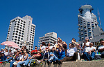 Israel, Tel Aviv. Watching the Air Force show on Independence Day