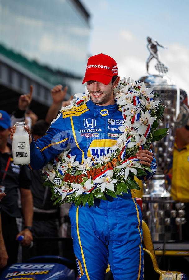 May 29, 2016; Indianapolis, IN, USA; IndyCar Series driver Alexander Rossi celebrates after winning the 100th running of the Indianapolis 500 at Indianapolis Motor Speedway. Mandatory Credit: Mark J. Rebilas-USA TODAY Sports