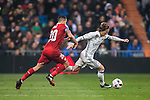 "Luka Modric (r) of Real Madrid battles for the ball with Victor Machin Perez ""Vitolo"" of Sevilla FC during their Copa del Rey Round of 16 match between Real Madrid and Sevilla FC at the Santiago Bernabeu Stadium on 04 January 2017 in Madrid, Spain. Photo by Diego Gonzalez Souto / Power Sport Images"