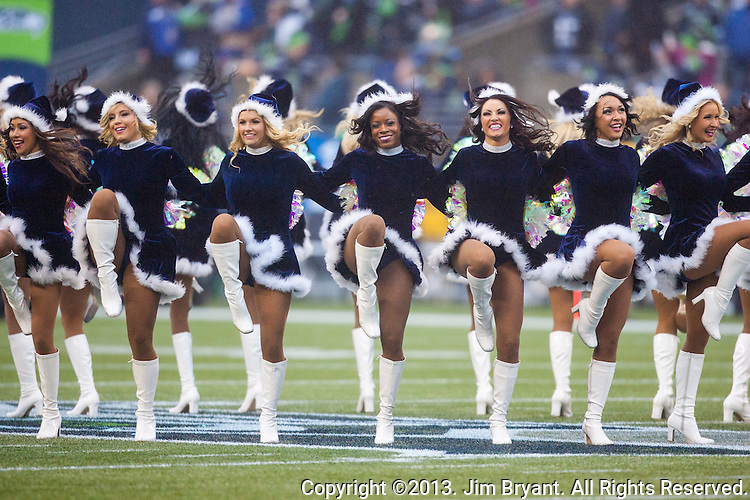 Seattle Seagals perform  during the Seahawks vs. Arizona Cardinals game at CenturyLink Field in Seattle, Washington on December 22, 2013. The Cardinals beat the Seahawks 17-10. ©2013. Jim Bryant Photo. ALL RIGHTS RESERVED.