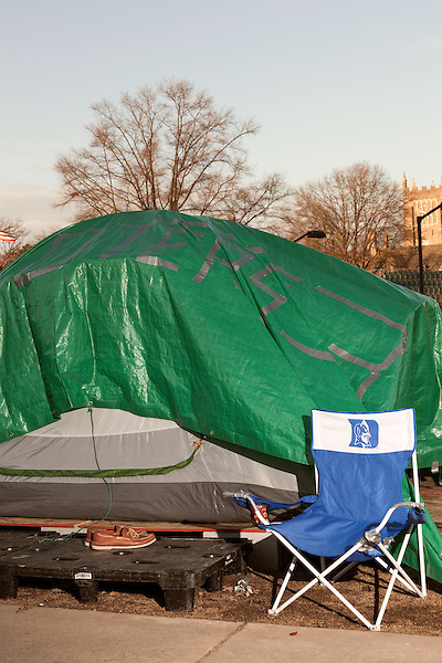 January 23, 2013. Durham, North Carolina. Tents line the grass in K-Ville where students camp out to get tickets for home basketball games at Cameron Indoor Stadium. Students stay for weeks leading up to the game versus arch rival UNC.. Duke University has become a power house in the national college basketball arena under the coaching of head coach Mike Krzyzewski. But the university has fought hard to maintain its image of high academic achievement while riding the wave of collegiate athletic success.