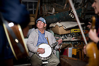 David Merrit plays banjo at the Clear Run Grocery bluegrass jam.