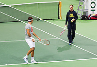10-02-13, Tennis, Rotterdam, qualification ABNAMROWTT, JRoger Federer during practise with his coach Luthi