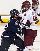 Justin Howell (UConn - 22), Casey Fitzgerald (BC - 5) - The Boston College Eagles defeated the visiting UConn Huskies 2-1 on Tuesday, January 24, 2017, at Kelley Rink in Conte Forum in Chestnut Hill, Massachusetts.