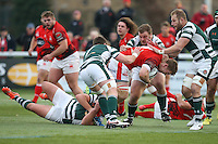 Kieran Murphy of London Welsh tries to find a way through the Ealing Trailfinders defence during the Greene King IPA Championship match between Ealing Trailfinders and London Welsh RFC at Castle Bar , West Ealing , England  on 26 November 2016. Photo by David Horn / PRiME Media Images