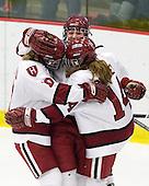 Anna McDonald (Harvard - 10), Liza Ryabkina (Harvard - 3), Jillian Dempsey (Harvard - 14) - The Harvard University Crimson defeated the Boston College Eagles 5-0 in their Beanpot semi-final game on Tuesday, February 2, 2010 at the Bright Hockey Center in Cambridge, Massachusetts.