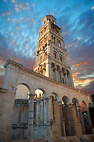 Bell tower  of the Cathedral of St Doimus dedicated to the Virgin mary, originally built onto the octagonal 4th cent AD mausoleum of  Roman Emperor Diocletian. Diocletian's, palace, Split, Croatia. A UNESCO World Heritage Site