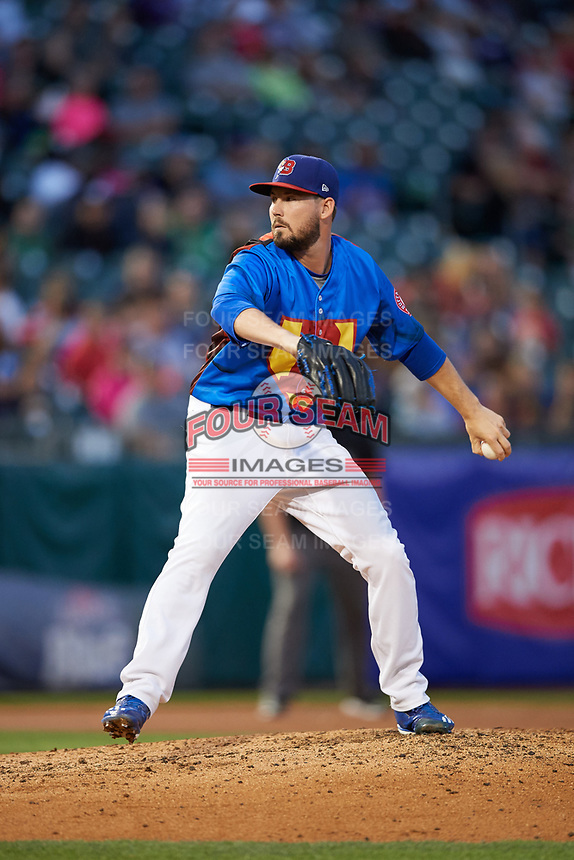 Buffalo Bisons relief pitcher Chad Girodo (15) delivers a pitch during a game against the Gwinnett Braves on August 19, 2017 at Coca-Cola Field in Buffalo, New York.  The Bisons wore special Superhero jerseys for Superhero Night.  Gwinnett defeated Buffalo 1-0.  (Mike Janes/Four Seam Images)