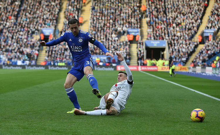 Leicester City's Ben Chilwell and Burnley's Matthew Lowton<br /> <br /> Photographer Stephen White/CameraSport<br /> <br /> The Premier League - Saturday 10th November 2018 - Leicester City v Burnley - King Power Stadium - Leicester<br /> <br /> World Copyright © 2018 CameraSport. All rights reserved. 43 Linden Ave. Countesthorpe. Leicester. England. LE8 5PG - Tel: +44 (0) 116 277 4147 - admin@camerasport.com - www.camerasport.com