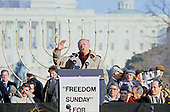 """Mayor Ed Koch (Democrat of New York) speaks at the """"Campaign to the Summit"""", a march on Washington, D.C. supporting freedom for Jews living in the Soviet Union, on Sunday, December 6, 1987.  200,000 people marched to focus attention on the repression of Soviet Jewry, was scheduled a day before United States President Ronald Reagan and Soviet President Mikhail Gorbachev began a 2 day summit in Washington where they signed the Intermediate Range Nuclear Forces (INF) Treaty.<br /> Credit: Ron Sachs / CNP"""