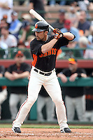 Andres Torres #56 of the San Francisco Giants bats against the Arizona Diamondbacks in the first spring training game of the season at Scottsdale Stadium on February 25, 2011  in Scottsdale, Arizona. .Photo by:  Bill Mitchell/Four Seam Images.