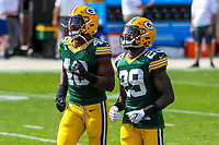 Green Bay Packers linebacker Joe Thomas (48) and safety Kentrell Brice (29) during a National Football League game against the Seattle Seahawks on September 10, 2017 at Lambeau Field in Green Bay, Wisconsin. Green Bay defeated Seattle 17-9. (Brad Krause/Krause Sports Photography)
