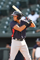 Third baseman Kurt Hoekstra (16) of the Rome Braves bats in game one of a doubleheader against the Columbia Fireflies on Saturday, August 19, 2017, at Spirit Communications Park in Columbia, South Carolina. Rome won, 8-2. (Tom Priddy/Four Seam Images)