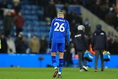18th March 2018, King Power Stadium, Leicester, England; FA Cup football, quarter final, Leicester City versus Chelsea; A dejected Riyad Mahrez of Leicester City at full time after extra time