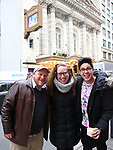 "Jason Sweettooth Williams, Jennifer Ashley Tepper and George Salazar during the Theatre Marquee unveiling for ""Be More Chill"" on January 17, 2019 at the Lyceum Theatre in New York City."