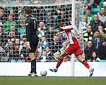 Fraser Forster can only look on as Cillian Sheridan strokers the ball home to score for Kilmarnock
