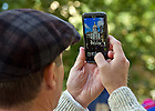 Sept. 22, 2012; A visitor takes a picture of the Golden Dome...Photo by Matt Cashore/University of Notre Dame
