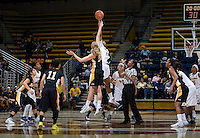 Reshanda Gray of California tips off against Ella Clark of Long Beach State during the game at Haas Pavilion in Berkeley, California on November 8th, 2013.  California defeated Long Beach State, 70-51.