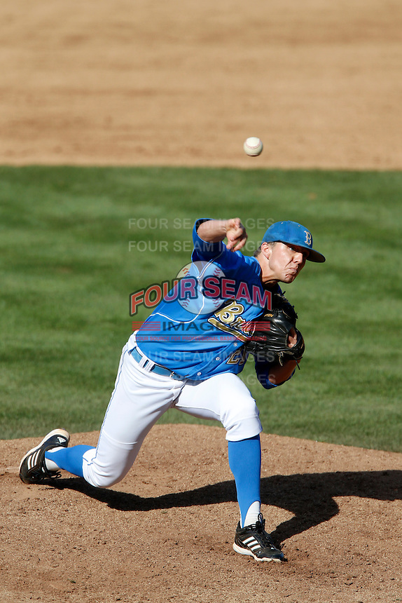 Nick Vander Tuig #21 of the UCLA Bruins pitches against the California Golden Bears at Jackie Robinson Stadium on March 23, 2013 in Los Angeles, California. (Larry Goren/Four Seam Images)