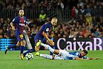 League Santander 2017/2018. Game: 03.<br /> FC Barcelona vs RCD Espanyol: 5-0.<br /> Andres Iniesta vs Pablo Piatti.