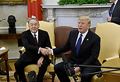 United States President Donald J. Trump shakes hands with President Nursultan Nazarbayev of Kazakhstan in the Oval Office  of the White House January 16, 2018 in Washington, DC. <br /> Credit: Olivier Douliery / Pool via CNP