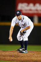 Empire State Yankees relief pitcher Ryota Igarashi #58 during game three of a best of five playoff series against the Pawtucket Red Sox at Frontier Field on September 7, 2012 in Rochester, New York.  Empire State defeated Pawtucket 4-3 to send the series to game four as Pawtucket leads two games to one.  (Mike Janes/Four Seam Images)