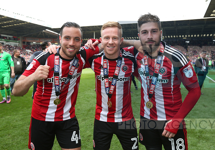 Sheffield United's Samir Carruthers, Mark Duffy and Kieron Freeman celebrate during the League One match at Bramall Lane, Sheffield. Picture date: April 30th, 2017. Pic David Klein/Sportimage