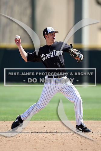March 13, 2010:  Shortstop Greg DeSantis (18) of Long Island University Blackbirds in a game vs. Army at Henley Field in Lakeland, FL.  Photo By Mike Janes/Four Seam Images