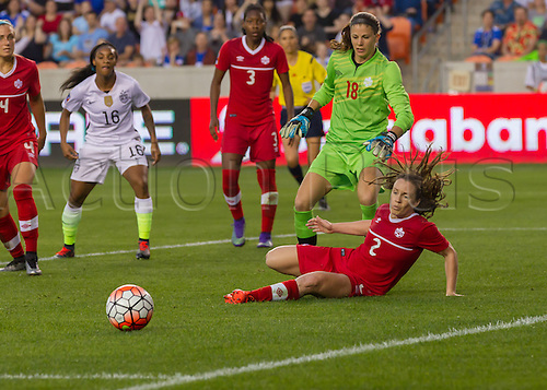 21.02.2016. Houston, TX, USA.  Canada Defender Allysha Chapman (2) kicks the ball away from danger during the Women's Olympic qualifying soccer final match between Canada and USA at BBVA Compass Stadium in Houston, Texas.