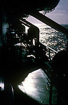 Silhouetted deck on board ship. In the Atlantic, against the sun