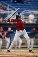Mahoning Valley Scrappers left fielder Oscar Gonzalez (39) at bat during the first game of a doubleheader against the Batavia Muckdogs on August 28, 2017 at Dwyer Stadium in Batavia, New York.  Mahoning Valley defeated Batavia 6-3.  (Mike Janes/Four Seam Images)